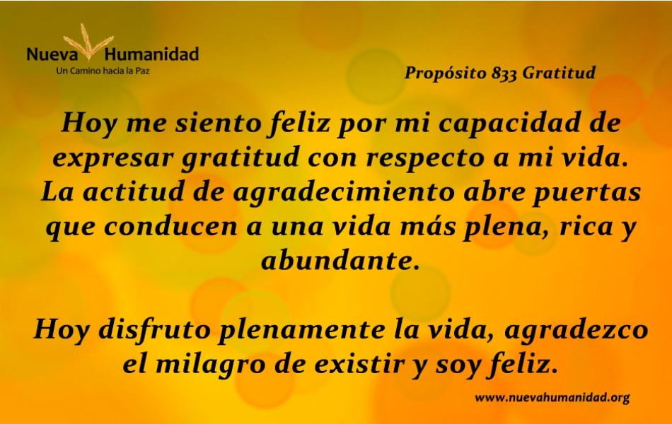 Nueva Humanidad Proposito 833 Gratitud