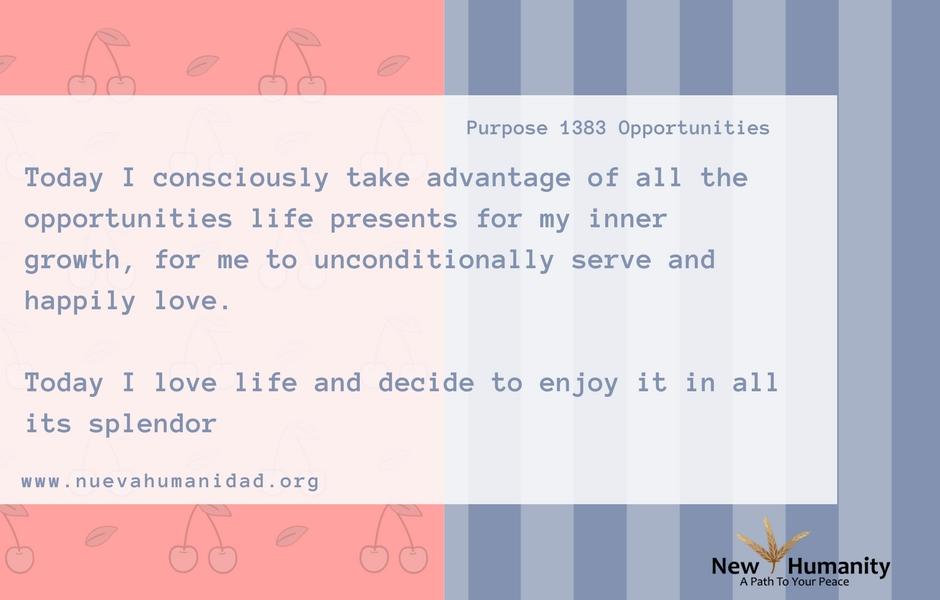 Nueva Humanidad Purpose 1383 Opportunities