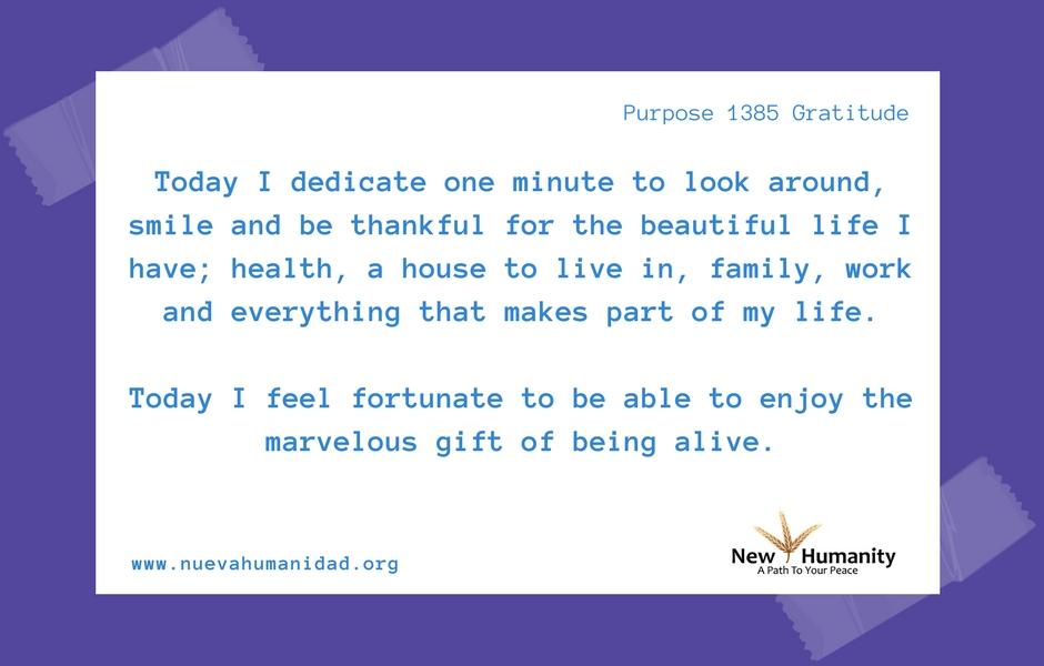 Nueva Humanidad Purpose 1385 gratitude