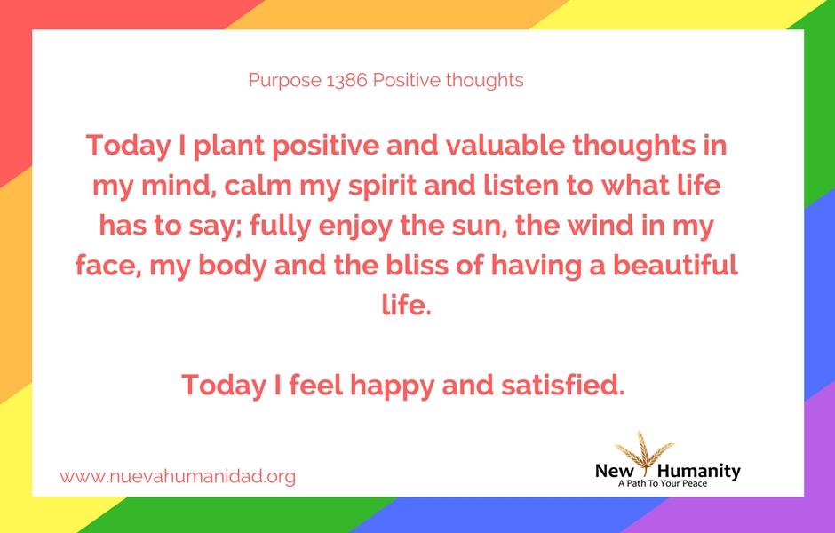 Nueva Humanidad Purpose 1386 Positive Thoughts