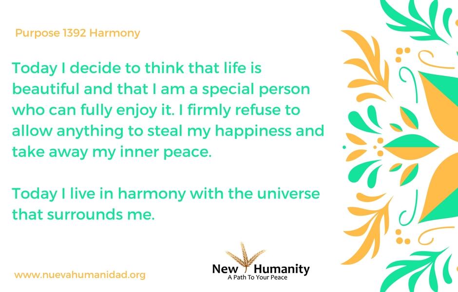 Nueva Humanidad Purpose 1392 Harmony