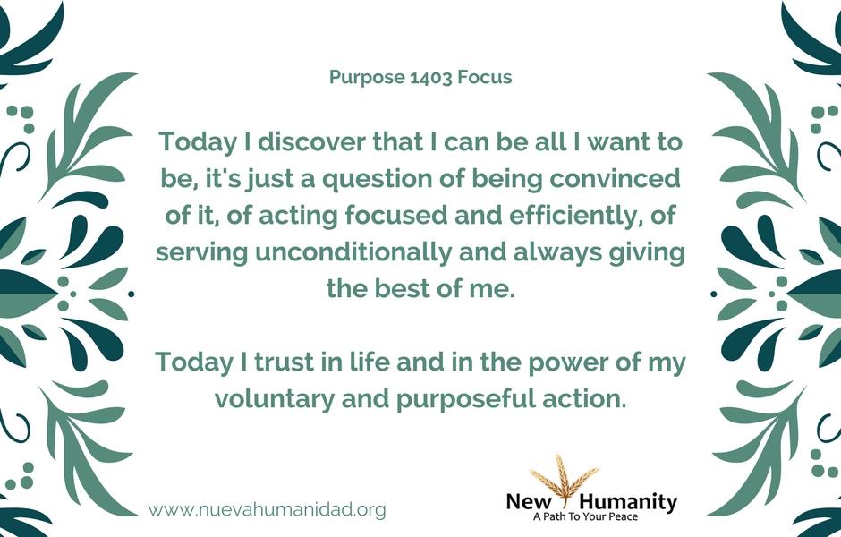 Nueva Humanidad Purpose 1403 Focus