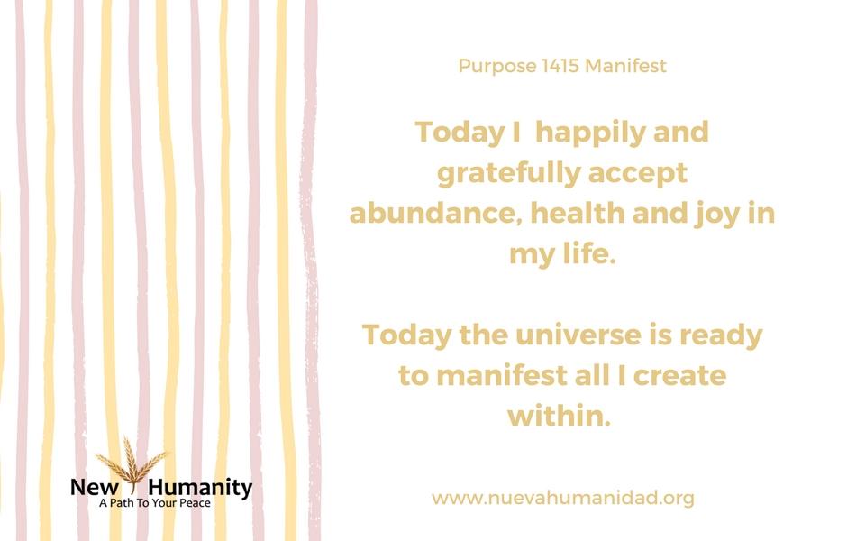 Nueva Humanidad Purpose 1415 Manifest