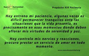 Propósito 920 Paciencia