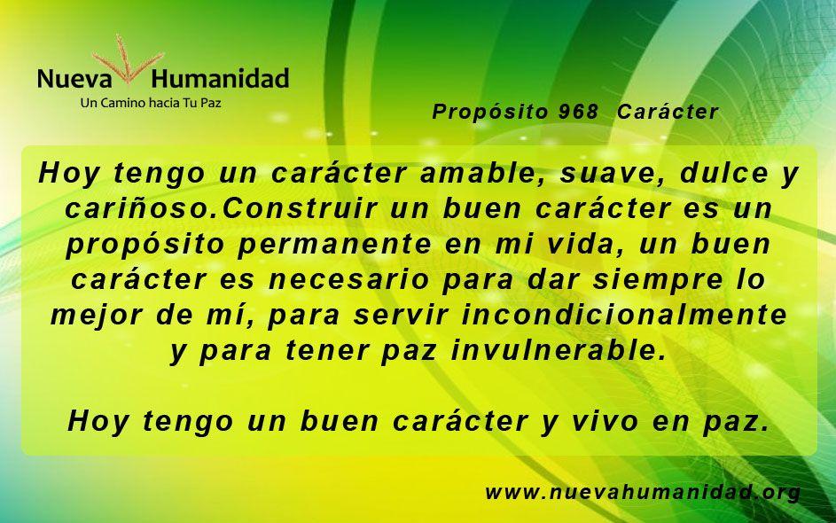 Propósito 968 Carácter