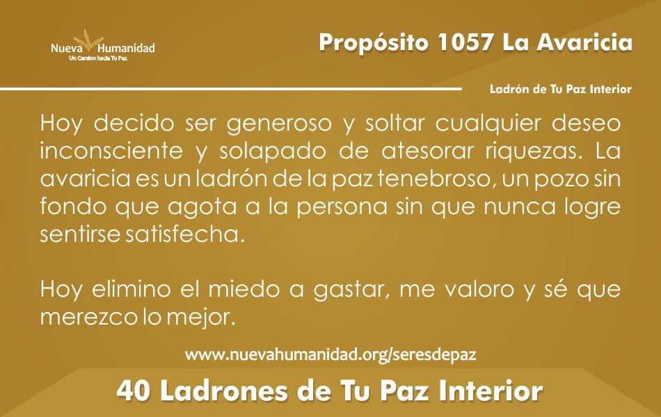 Propósito 1057 La avaricia