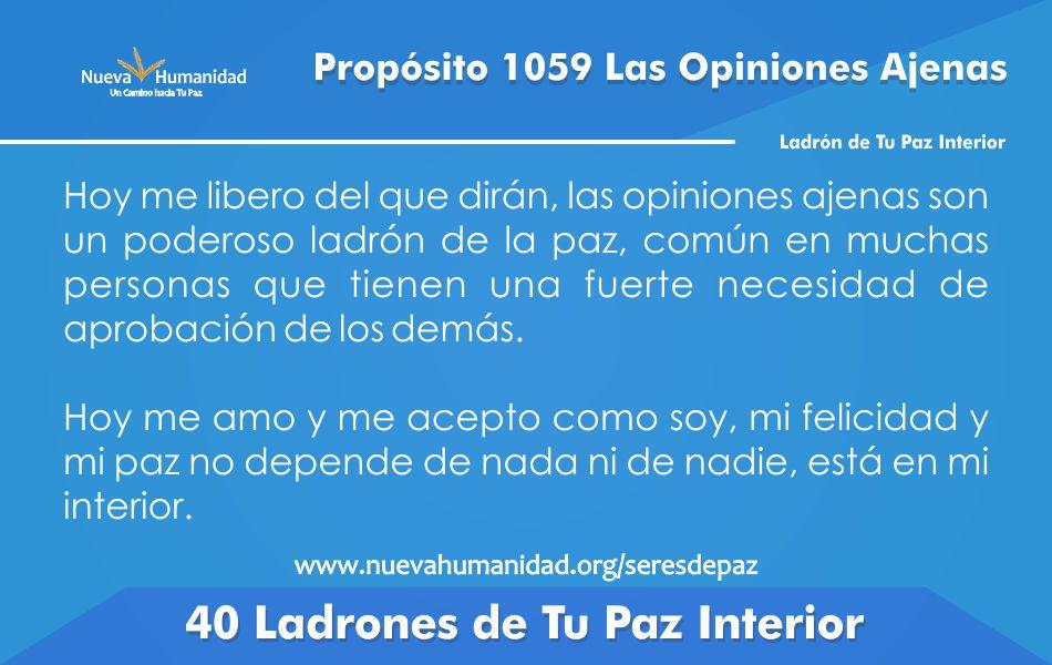 Propósito 1059 Las Opiniones ajenas