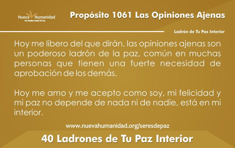 Propósito 1061 Las Opiniones ajenas