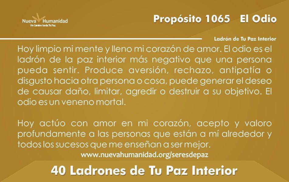 Propósito 1065 El odio