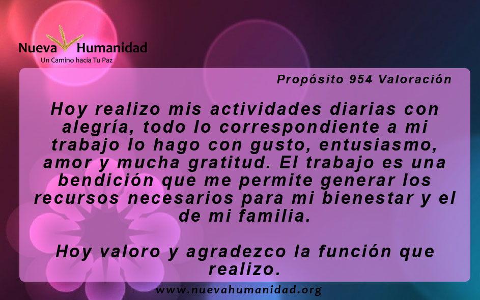 Propósito 954 Valoración