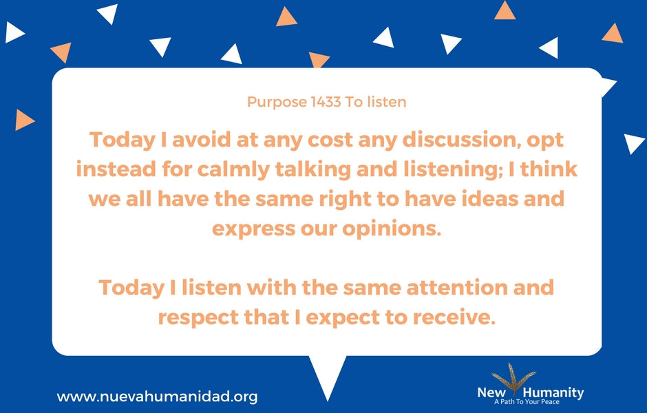 Nueva Humanidad Purpose 1433 To Listen