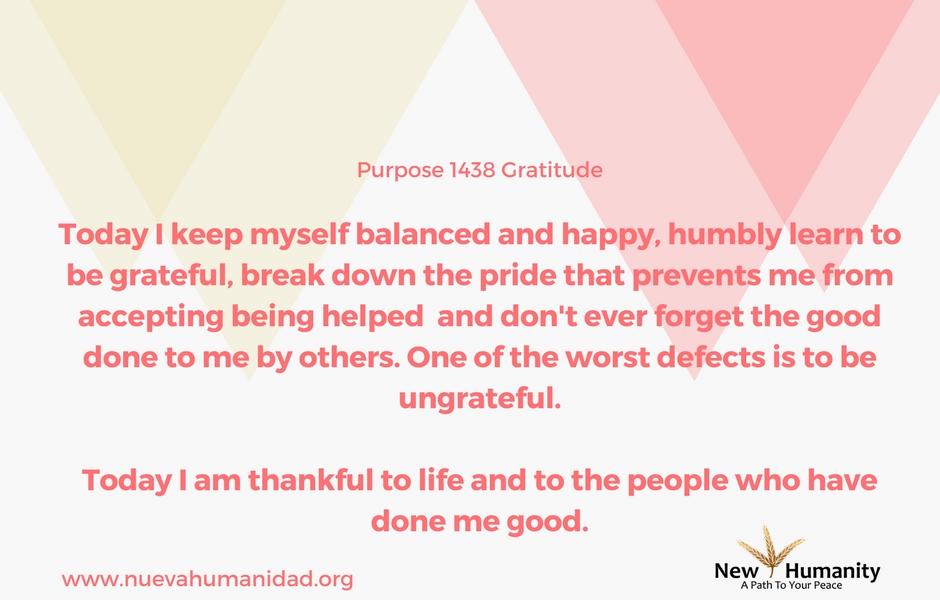 Nueva Humanidad Purpose 1438 Gratitude