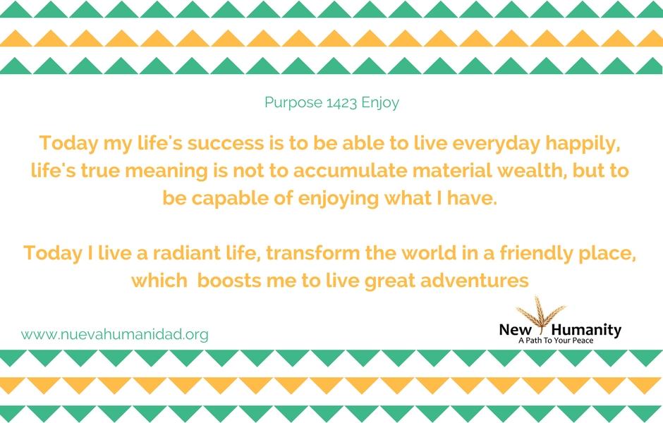 Nueva Humanidad purpose Enjoy