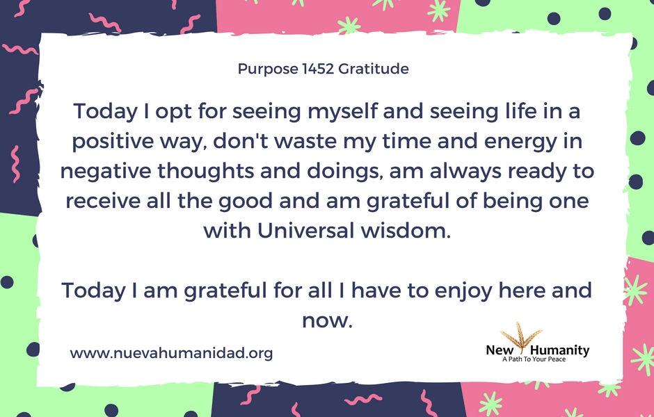 Nueva Humanidad Purpose 1452 Gratitude