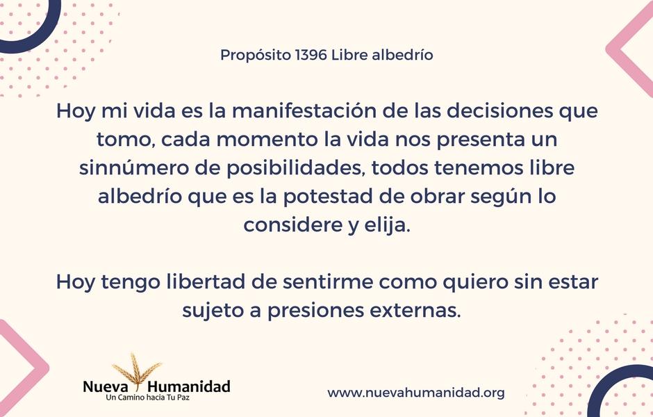 Propósito 1396 Libre albedrío