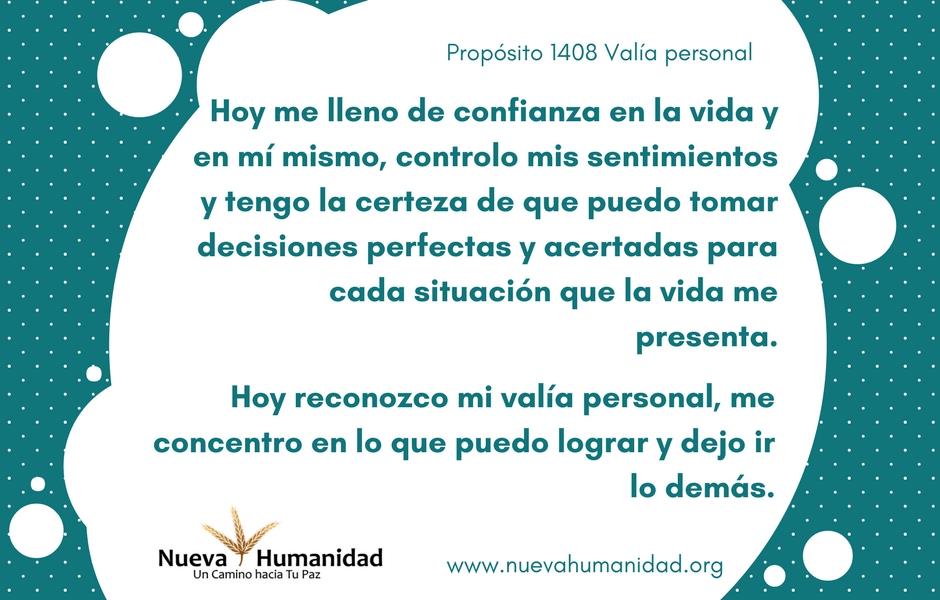 Propósito 1408 Valía personal