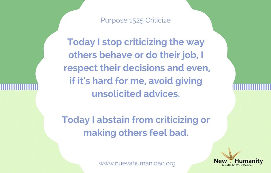 Purpose 1525 Criticize