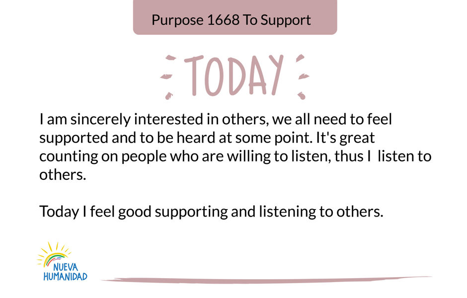 Purpose 1668 To Support