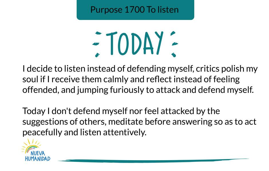 Purpose 1700 To listen