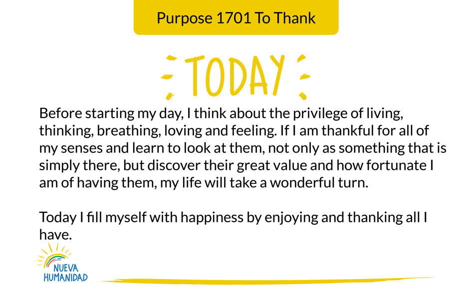 Purpose 1701 To Thank