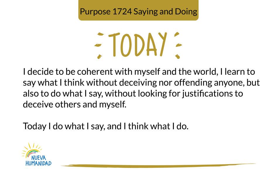Purpose 1724 Saying and Doing