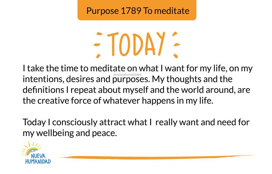 Purpose 1789 To meditate