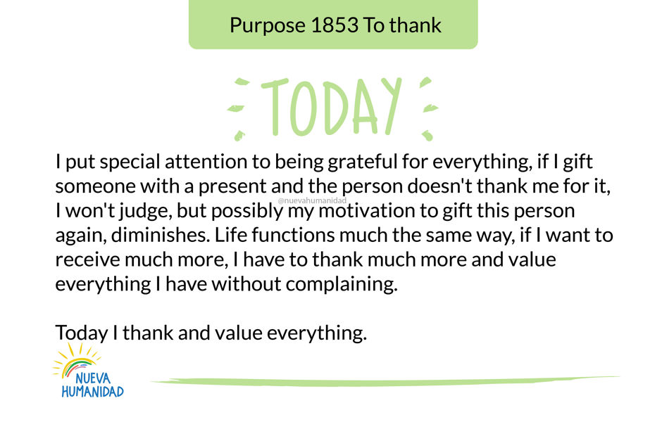 Purpose 1853 To thank
