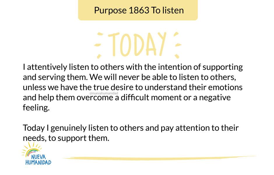Purpose 1863 To listen