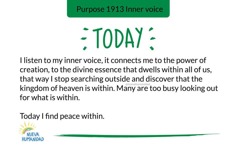 Purpose 1913 Inner voice
