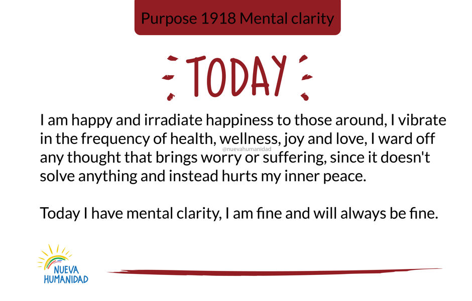 Purpose 1918 Mental clarity