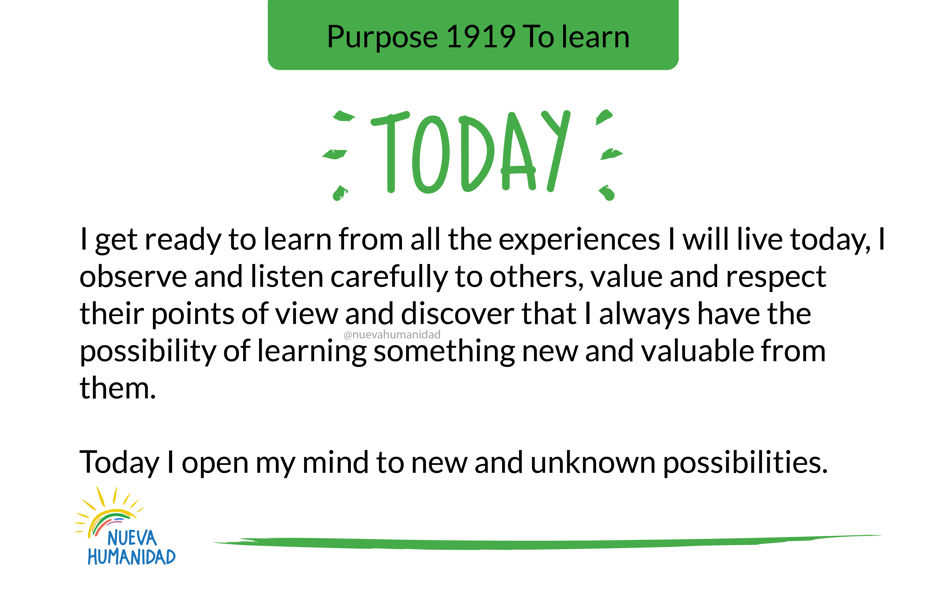 Purpose 1919 To learn