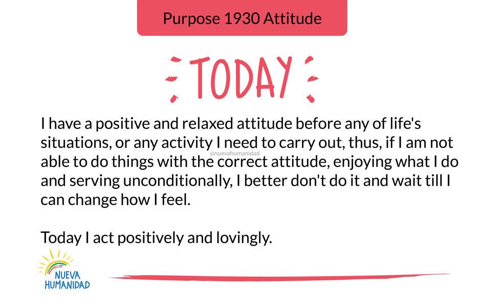 Purpose 1930 Attitude