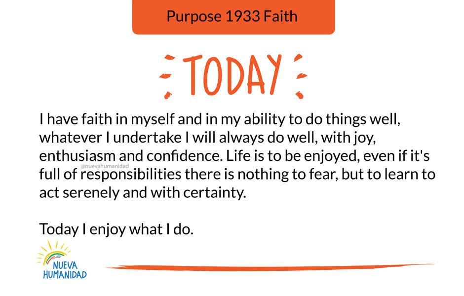 Purpose 1933 Faith
