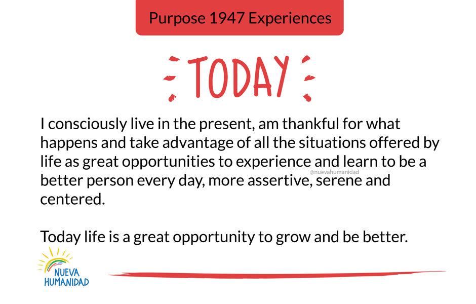 Purpose 1947 Experiences