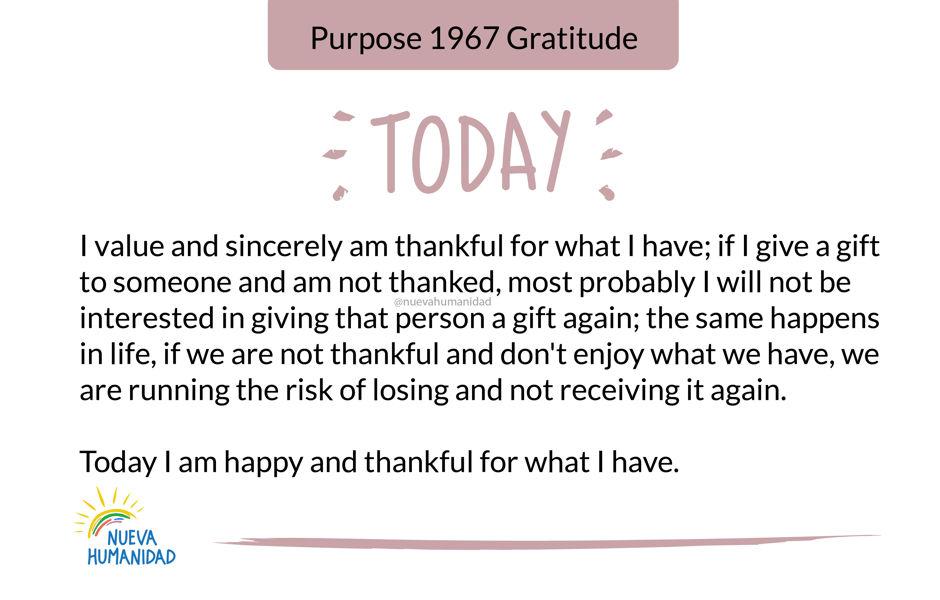 Purpose 1967 Gratitude