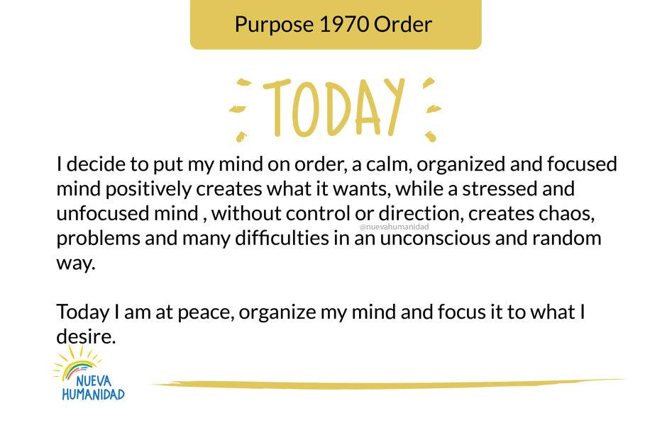 Purpose 1970 Order