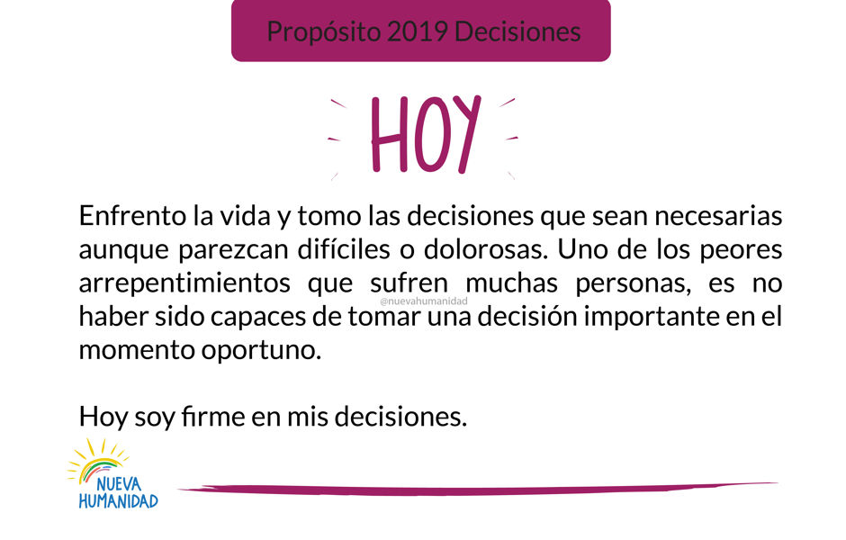 Propósito 2019 Decisiones