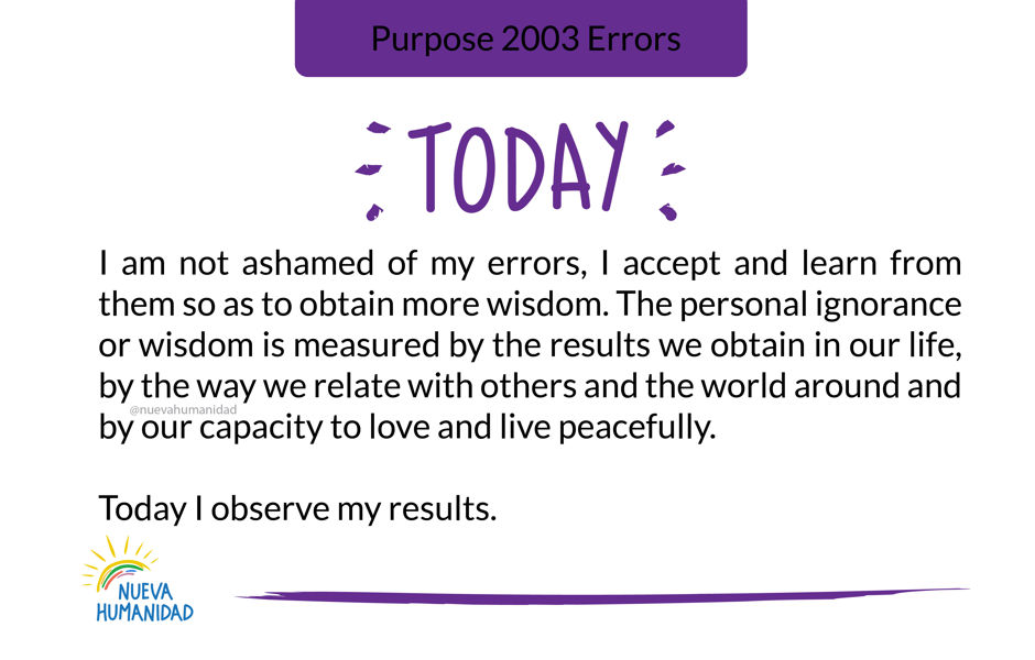 Purpose 2003 Errors