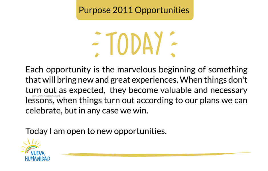 Purpose 2011 Opportunities