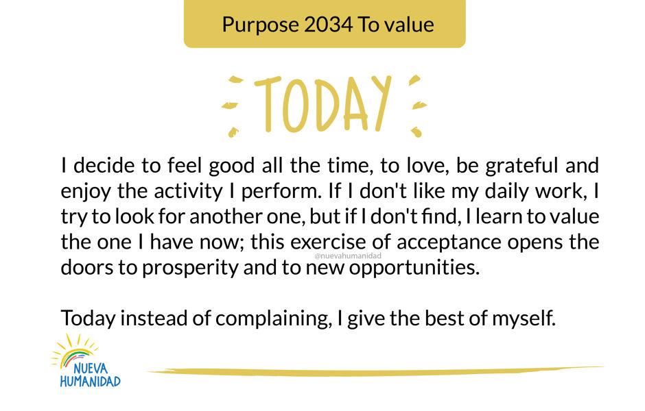 Purpose 2034 To value