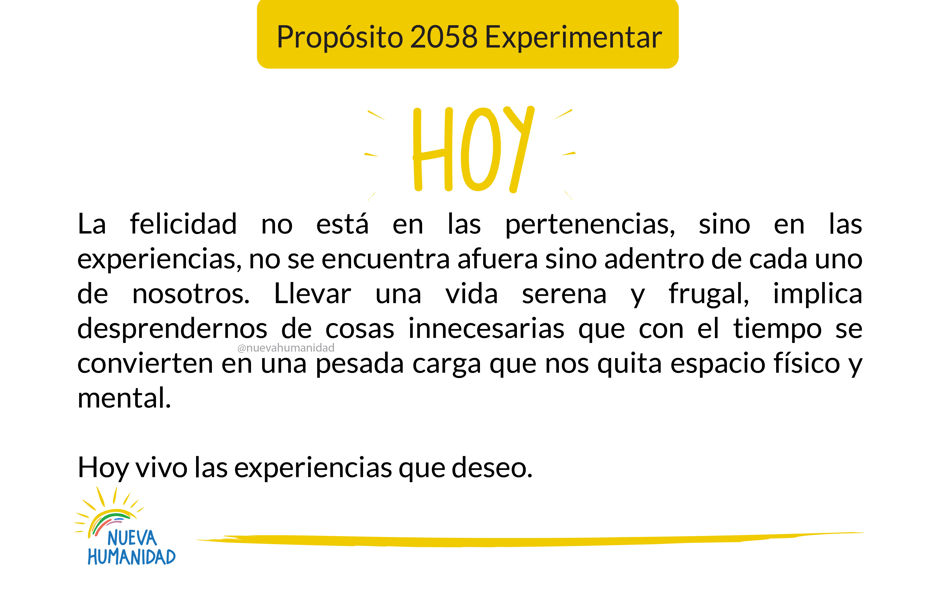 Propósito 2058 Experimentar