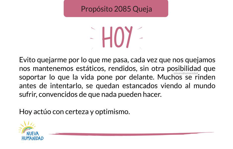 Propósito 2085 Queja