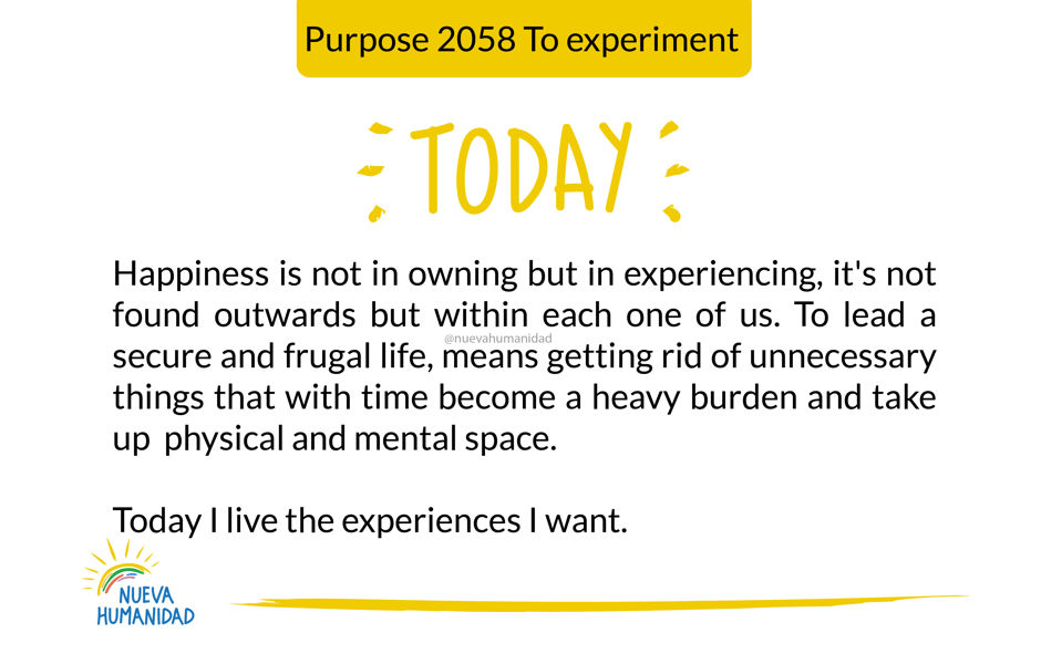 Purpose 2058 To experiment