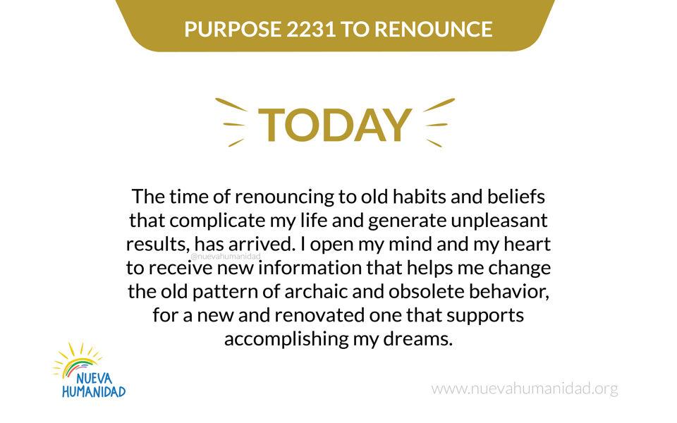 Purpose 2231 To renounce