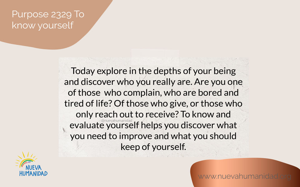 Purpose 2329 To know yourself