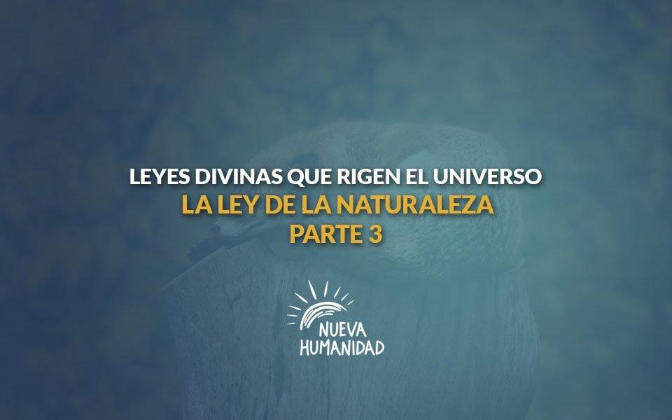 Nueva Humanidad – Leyes divinas que rigen el universo- La ley de la naturaleza – Tercera parte.